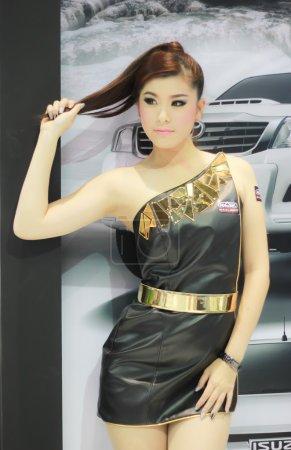 An Unidentified female presenter pose in Bangkok International M