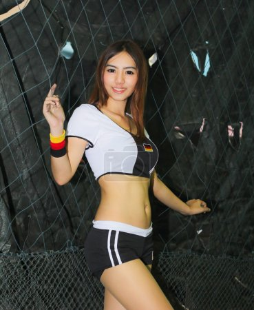 An Unidentified model  promote World cup 2014