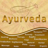 Ayurveda text keywords Mortar with Brown Grunge