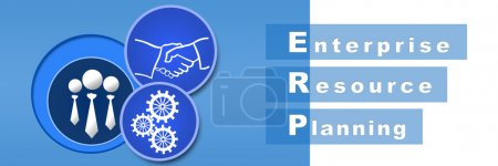 Photo for Banner image of ERP with gears, handshake, and human icons. - Royalty Free Image