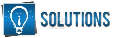 Photo pour Image de bannière en bleu avec des solutions texte et ampoule - image libre de droit