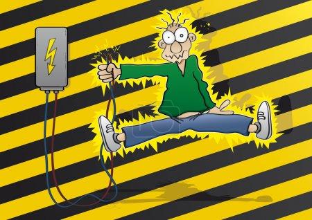 Cartoon man gets an electric shock