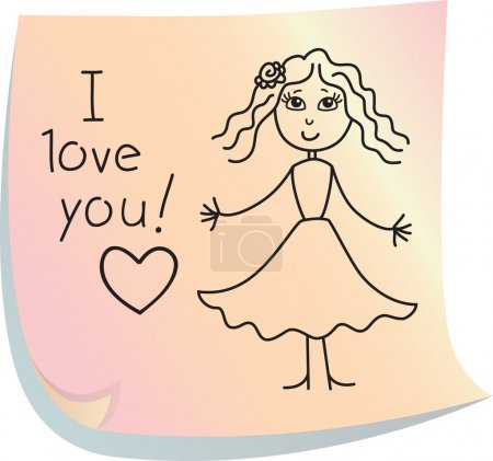 "Illustration for Post-it with picture of girl with words ""I love you!"" - Royalty Free Image"