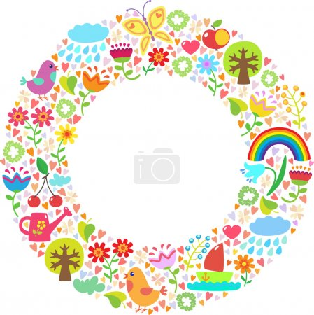 Illustration for Round backround with spring and summer themes - Royalty Free Image