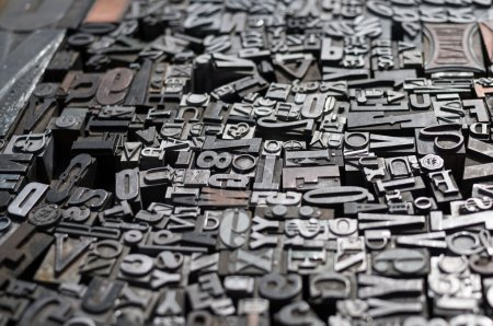 Old die press letters and numbers