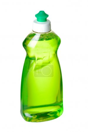Photo for Liqid green soap bottle on white background with path. - Royalty Free Image