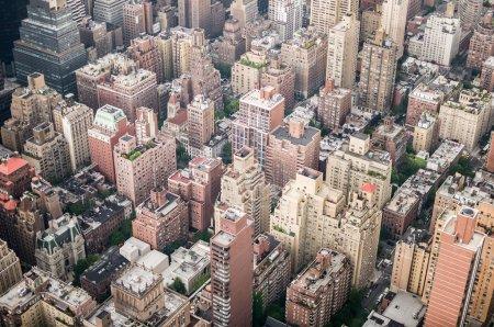 Aeriel shot of New York City buildings