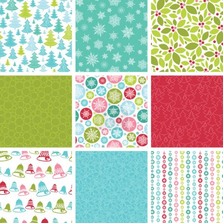 Colorful Winter Holidays Collection Of Nine Seamless Patterns