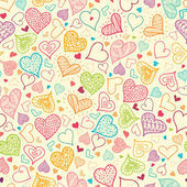 Doodle Hearts Seamless Pattern Background