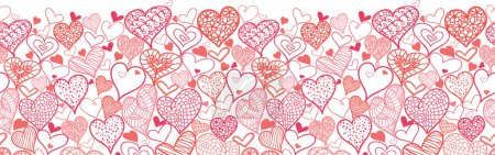 Valentine's Day Hearts Horizontal Seamless Pattern Border