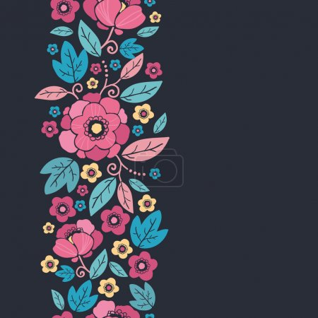 Illustration for Vector Night Kimono Blossom Vertical Seamless Pattern Background Ornament with vibrant Asian style flowers on black background - Royalty Free Image