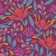 Vector embroidered flowers seamless Pattern Backgr...