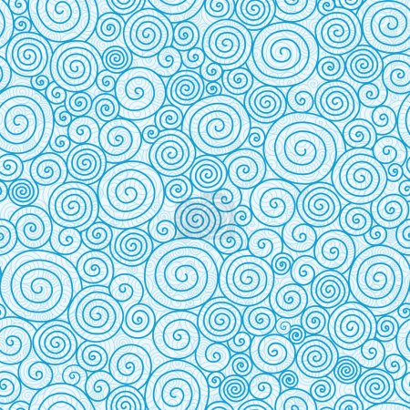 Illustration for Vector abstract swirls seamless pattern background with hand drawn curl elements in blue. - Royalty Free Image