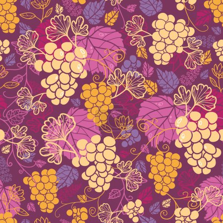 Sweet grape vines seamless pattern background