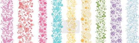 Illustration pour Ensemble de neuf plantes abstraites verticales motifs sans couture décors - image libre de droit