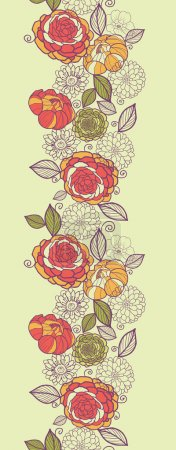 Garden peony flowers and leaves vertical seamless pattern