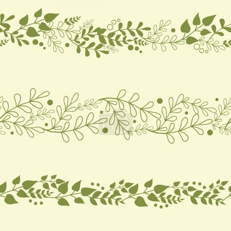 Illustration for Three vector green plants horizontal seamless pattern background set with abstract plants with fun leaves and branches forming a floral - Royalty Free Image