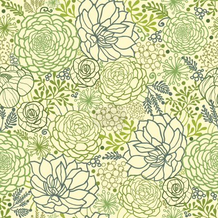 Illustration for Vector Green Succulent Plants Seamless Pattern Background Texture With hand drawn doodle seaweed. - Royalty Free Image