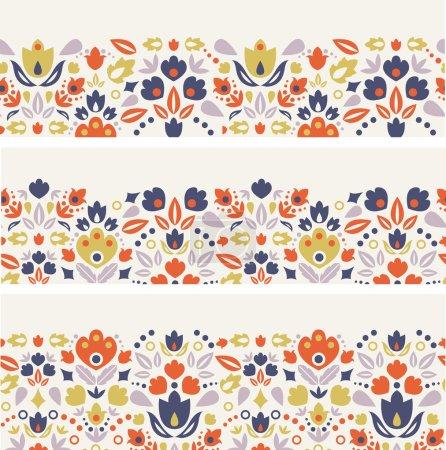 Three ornamental folk tulips horizontal seamless patterns