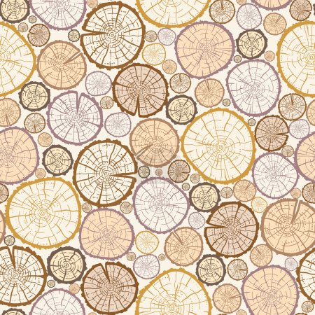 Illustration for Vector wood log cuts seamless pattern background with hand drawn - Royalty Free Image