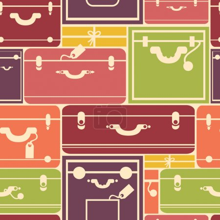 Illustration for Vector colorful luggage seamless pattern background with hadn drawn elements. - Royalty Free Image