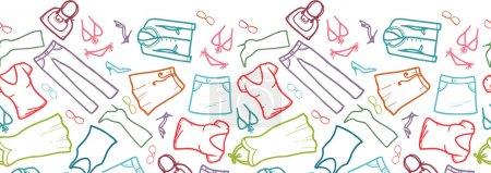 Wardrobe clothing horizontal seamless pattern border