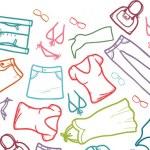 Vector wardrobe clothing horizontal seamless patte...