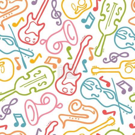 Illustration pour Instruments de musique vectoriels fond de motif sans couture avec des éléments dessinés à la main . - image libre de droit