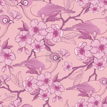 Illustration for Vector pastel birds among sakura flowers seamless pattern background with hand drawn elements. - Royalty Free Image