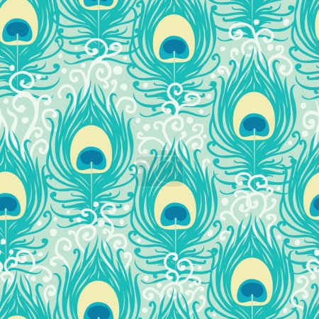 Illustration for Peacock feathers vector seamless pattern background with hand drawn elements. - Royalty Free Image