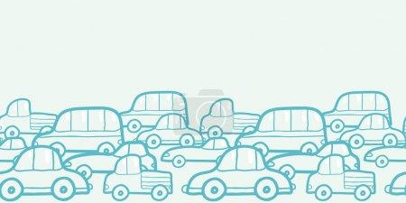 Doodle cars horizontal seamless pattern background border