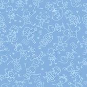 Kids playing seamless pattern background
