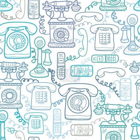 Illustration for Vector vintage and modern telephones seamless pattern background with hand drawn elements - Royalty Free Image
