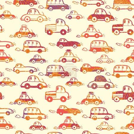 Vibrant cars seamless pattern background