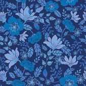 Vector dark night flowers seamless pattern background with hand drawn elements
