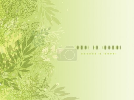 Illustration for Vector fresh glowing spring plants horizontal background with hand drawn elements. This is an EPS10 file with transparency effect used. - Royalty Free Image