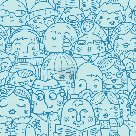 In a crowd seamless pattern background