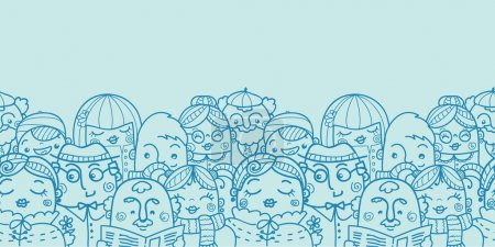 in a crowd horizontal seamless pattern background