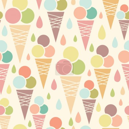 Illustration pour Cônes de crème glacée vectorielle fond de motif sans couture avec de délicieuses friandises - image libre de droit