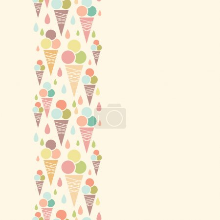 Ice cream cones vertical seamless pattern background border