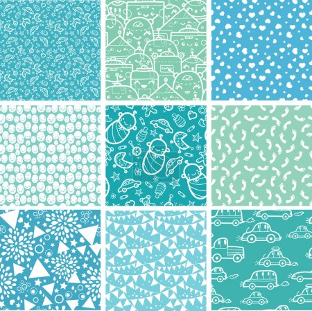 Nine baby boy blue seamless patterns backgrounds collection
