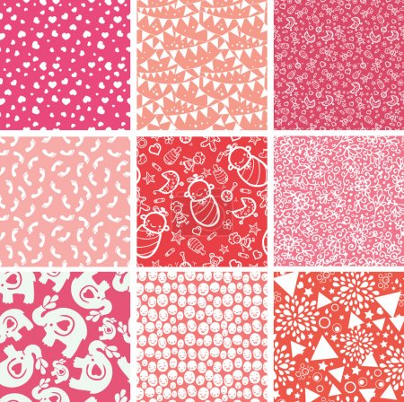 Nine baby girl pink seamless patterns backgrounds collection