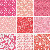 Vector nine baby girl pink seamless patterns backgrounds set with hand drawn elements