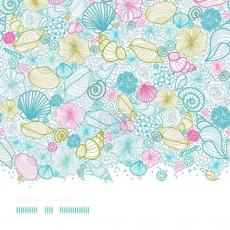 Illustration for Vector seashells line art horizontal seamless pattern background with hand drawn elements. - Royalty Free Image