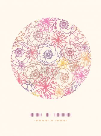 Illustration for Vector subtle field flowers elegant circle decor pattern background with hand drawn line art floral elements. - Royalty Free Image