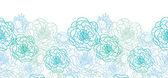 Blue line art flowers horizontal seamless pattern background border