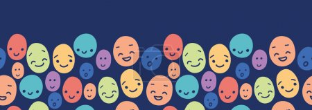 Illustration for Vector funny faces horizontal seamless pattern background border with hand drawn elemtns - Royalty Free Image