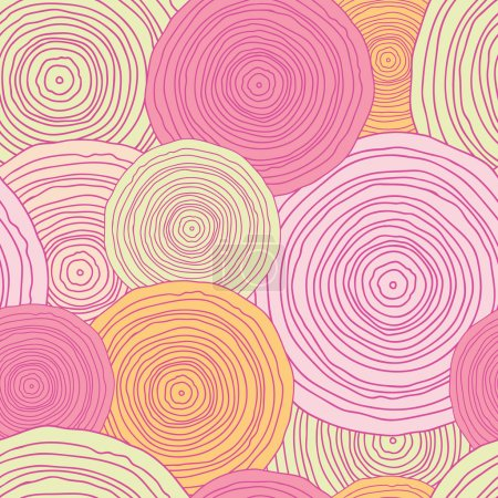 Illustration for Vector doodle circle texture seamless pattern background with hand drawn elements - Royalty Free Image