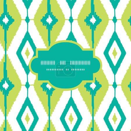 Emerald green ikat diamonds frame seamless patterns backgrounds