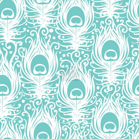 Illustration for Soft peacock feathers vector seamless pattern background with hand drawn elements. - Royalty Free Image